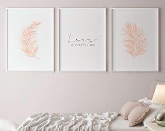 Bedroom Decor Women 3 Piece Wall Art Botanical Print Set Etsy Arte Del Dormitorio Arte Decoracion De Unas