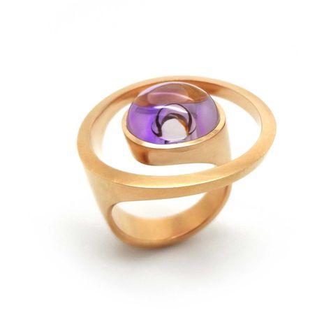 ORRO Contemporary Jewellery Glasgow - Angela Hubel - Rose Gold & Amethyst Magic Sunshine Ring - Modern Rose Gold Rings by Angela Hubel at ORRO Jewellery