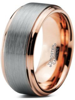 Tungsten couple Wedding band,Tungsten Gold IP plated brushed center and shiny beveled Ring,FREE ENGRAVING His /& Her Matching Engagement ring