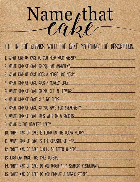 Name That Cake Bridal Shower Game . Printable Instant Download #BridalShowerFavors #bridalplanner