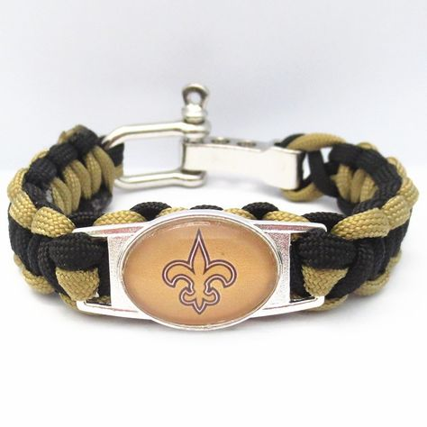 New Orleans Saints Football Paracord Bracelet - Show off your teams colors! Cutest Love New Orleans Saints Bracelet on the Planet! Don't miss our Special Sales Event. Many teams available. www.DilyDalee.co