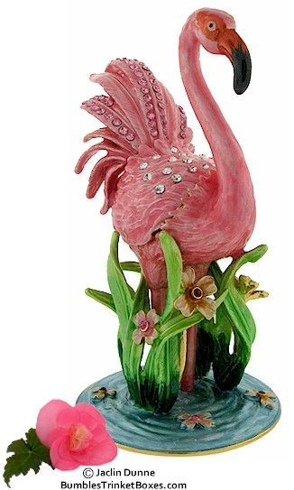 FLAMINGO Large Trinket Box BIRD Figure Gift Ornament Collectable TRINKET BOX