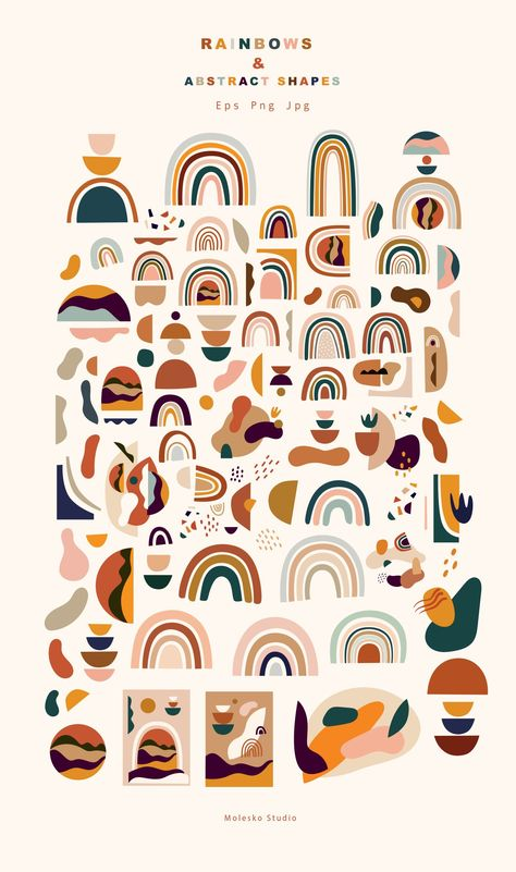 Rainbows and Abstract shapes by MoleskoStudio on Art Inspo, Atelier D Art, Art Design, Design Elements, Blog Design, Painted Pots, Painted Flower Pots, Abstract Shapes, Geometric Shapes