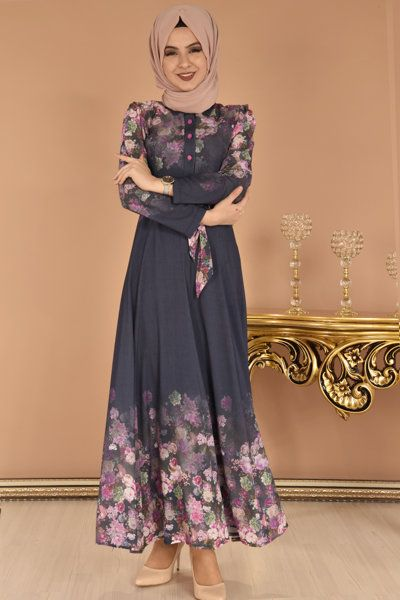 Modamerve Dijital Baski Desen Cicekli Elbise Lacivert Eig 4502 1 Cicekli Elbise Elbise Elbise Modelleri