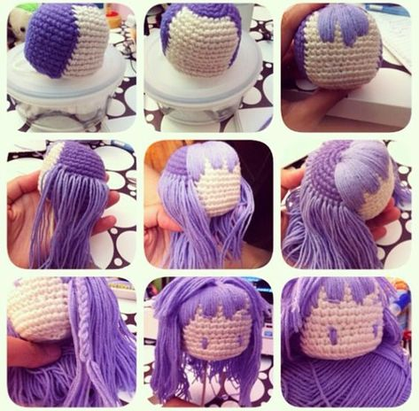 Amigurumi hair tutorial - step by step photos to add straight or ... | 464x473