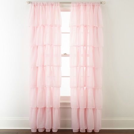 Home Expressions Delia Ruffle Rod Pocket Sheer Curtain Panel In