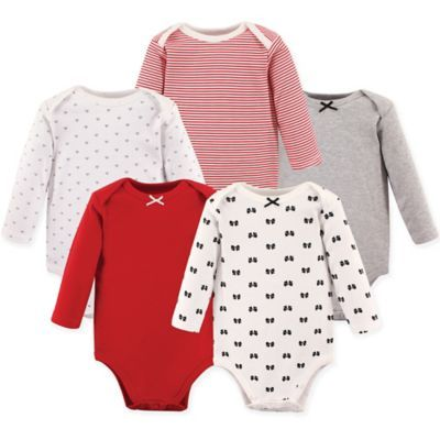 1fc2c9ec8 Hudson Baby Size 3-6M 5-Pack Baby Bows Long Sleeve Bodysuits In Red ...