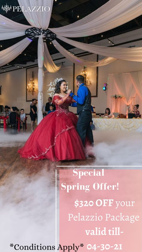"Are you planning a party and need to find the perfect place? Look no further than Pelazzio where you can get the deal of a lifetime! Pelazzio is offering $320 OFF ❤️ now on party packages. ❌ Cannot be combined with ""special gifts"" Coupon ❌ Not applicable on Pelazzio Rental or Aroosi Package #Pelazzio #SpringSavings #SpringOffer #Ballroom #ReceptionVenue #Houston"