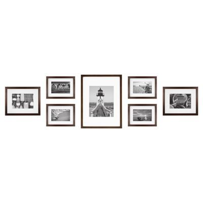 7 Piece Gallery Wood Picture Frame Set In Walnut In 2020 Picture Frame Gallery Gallery Wall Frames Picture Gallery Wall