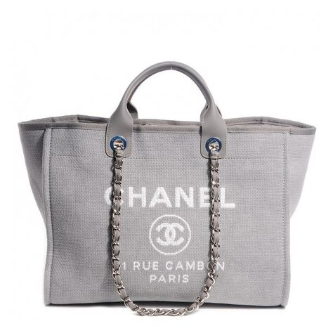 c904e49cbbd8 CHANEL Canvas Deauville Large Tote Grey NEW ❤ liked on Polyvore featuring  bags