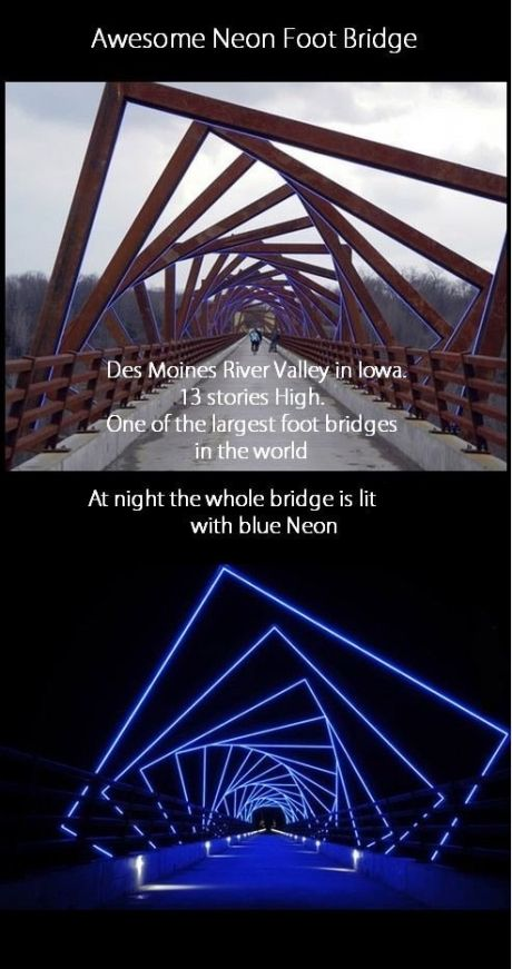 Visit High Trestle Trail Bridge at night.  Directions: Map point marks the nearest parking area, about a mile east of the bridge. From Hwy 210, west of Madrid but east of the river, turn south onto Qf Lane (a gravel road). Drive a half-mile to the parking area on the right, then walk west .8 mi. to the bridge.