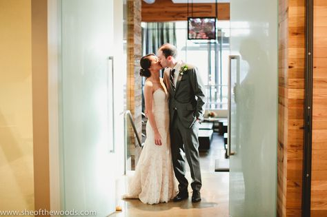 Bride and groom entrance at Catalyst restaurant in Cambridge, MA ...