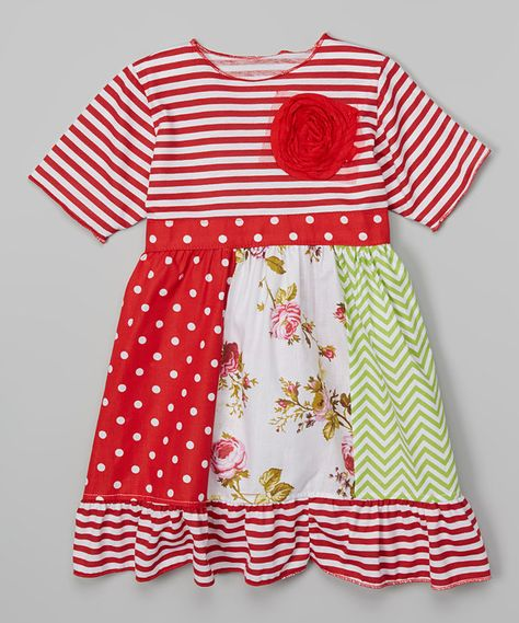 Look at this Red Rosette Babydoll Dress - Toddler & Girls on #zulily today!