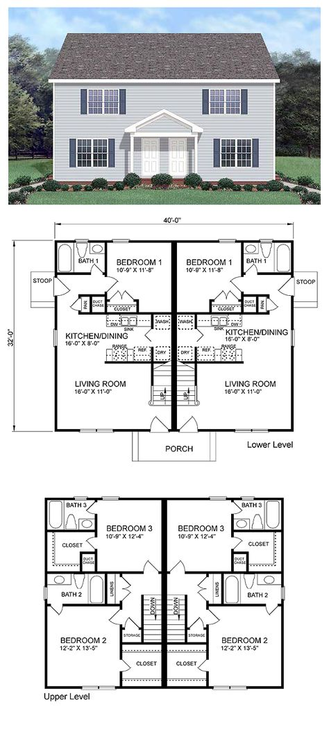 Colonial Style Multi Family Plan 45370 With 6 Bed 6 Bath Duplex House Plans Duplex Floor Plans Duplex House Design