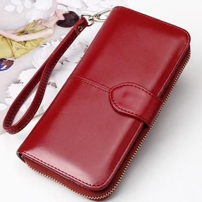 eef11484341d Vintage Leather Women Long Wallets Ladies Fashion Wallet Coin 3fold ...