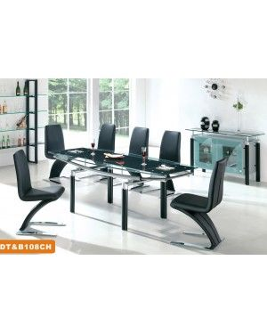 American Eagle 108DT Modern Dining Room Set With Combination Of Frosted And Clear Table Black Leather Z Shape Chairs