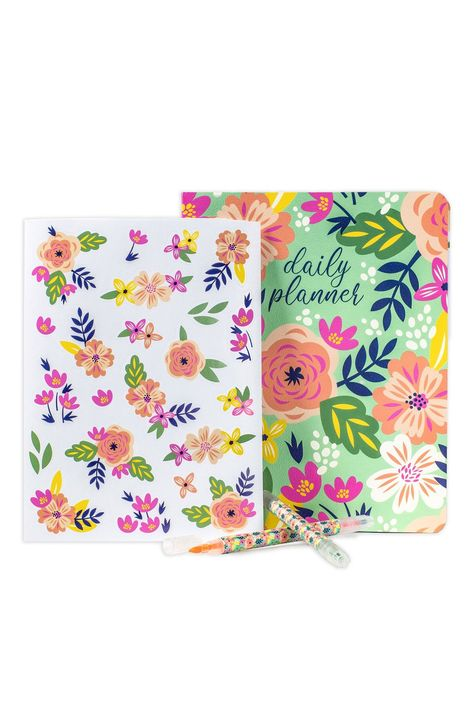pink floral pattern background set of 2 A6 notebooks