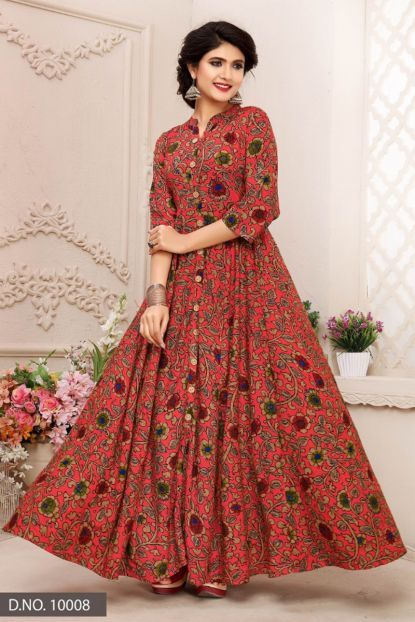 Pink Stand Collar Event Wear Floor Length Rayon Gown Style Kurti Catalog No 5692 Webs African Print Fashion Dresses Printed Gowns Silk Saree Blouse Designs