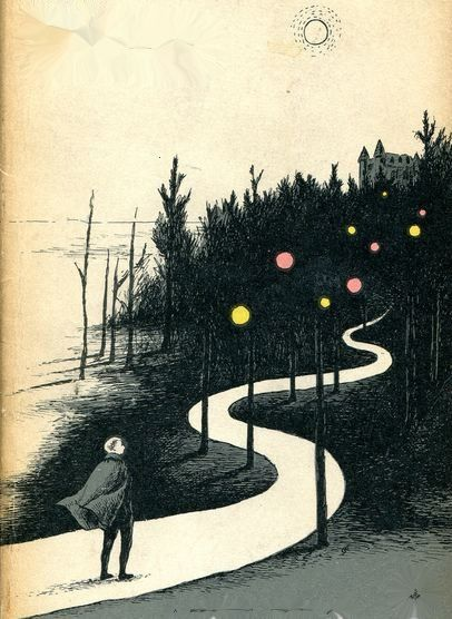 """Edward Gorey (Author and Illustrator) [Book Illustration from the cover of """"The Wander""""]"""