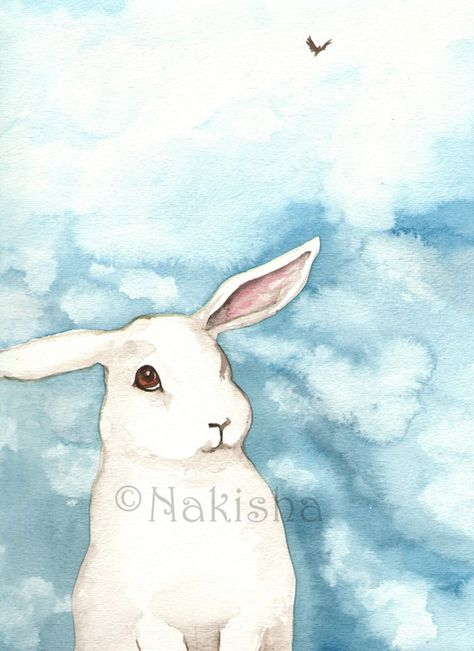 Original Watercolor Rabbit Painting Little White by bluedogrose
