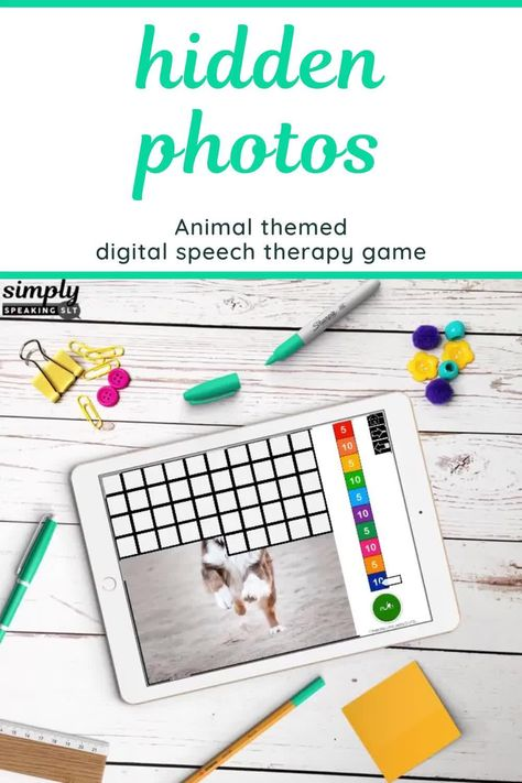 Animal Photos 100 Trials No Print Hidden Images Game for Speech and Articulation