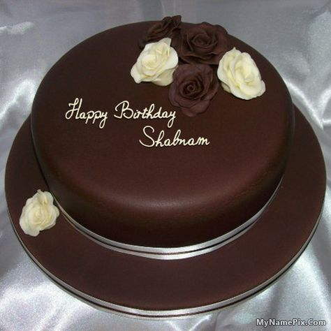 The Name Shabnam Is Generated On Rose Chocolate Birthday Cake With
