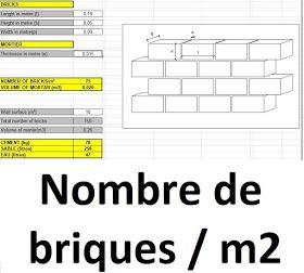 Calcul Du Nombre De Briques Par M2 Et Calcul De La Quatite De Mortier Pour M2 De Mur En 2020 Avec Images Genie Civil Brique Calcul Beton
