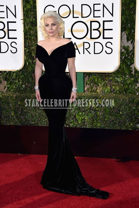 262e8fa9ab8e Lady Gaga 2016 Golden Globes in Corseted Sexy Deep V Neck Off Shoulder  Black Celebrity Prom Gown