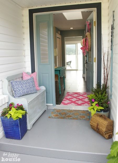 Lake Cottage Style Summer Porch - The Happy Housie #porch