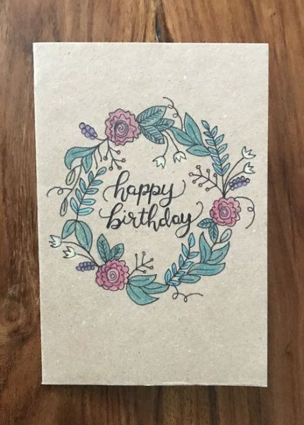 Best Flowers Wreath Hand Drawn 18 Ideas Birthday Card Drawing Flower Birthday Cards Hand Drawn Cards