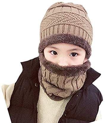 Kids Boys Girls Winter Hat and Scarf Set Warm Knit Beanie Cap and Circle Scarf