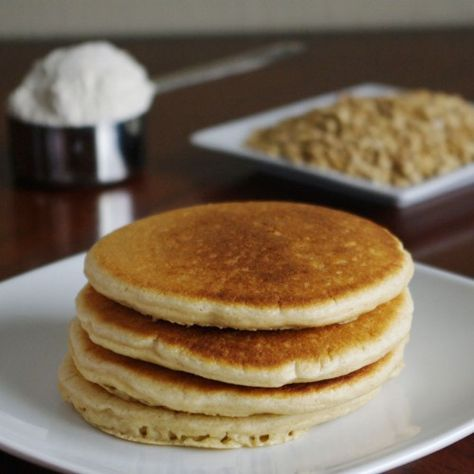 Oat Flour pancakes... can make vegan by replacing the 2 eggs with 2 TBSP ground flax or chia in 6 TBSP of water