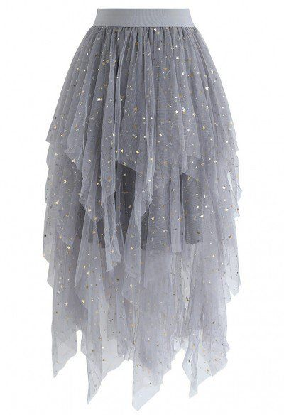 Shooting Stars Asymmetric Tiered Mesh Skirt in Black - Retro, Indie and Unique Fashion