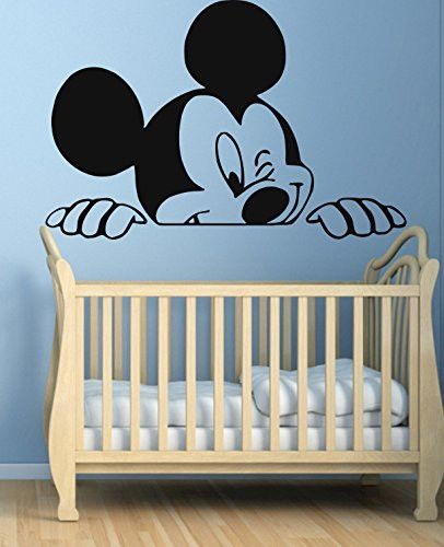 Mickey Mouse Name Wall Decal Head Ears Vinyl Sticker Baby Boy Name Decals aa515