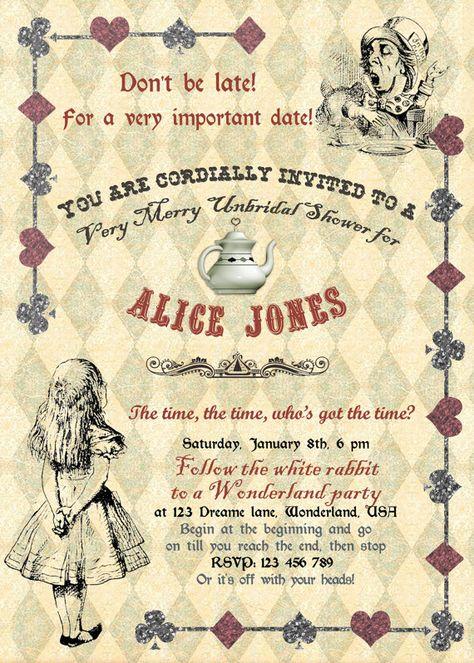 Alice In Wonderland Mad Hatter Bridal Shower Tea Party Invitation