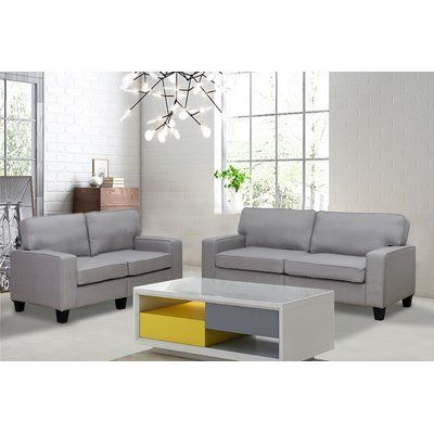 Living In Style Jordan Linen 2 Piece Modern Living Room Sofa and ...