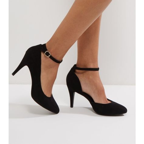 a80151b6bdd New Look Wide Fit Black Suedette Pointed Toe Heels ( 25) ❤ liked on  Polyvore featuring shoes