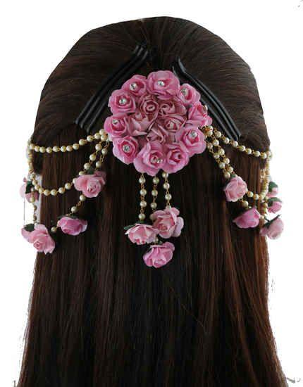Set 12 Pcs Indian Hair accessories Artificial Flower Jewelry Handmade Flower Hair Clip For Women Party Wear bridal mehndi Hair Bun