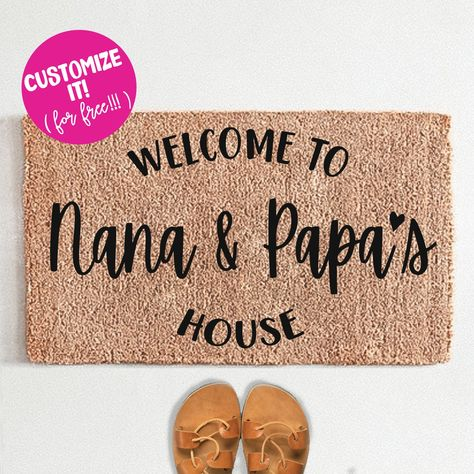 PERSONALIZED Welcome To Nana and Papa's House Heart Doormat - 24x72 / Red