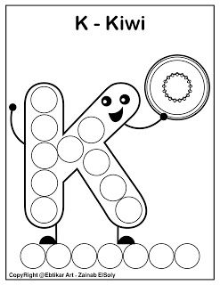 Set Of Abc Dot Marker Coloring Pages Letter K For Kiwi Preschool Alphabet Printables Dot Markers Free Preschool Printables Alphabet