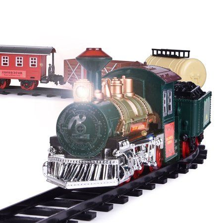 Kids Battery Operated Electric Railway Train Set For Play Christmas Decoration With Sounds And Lights Red Toy Trains Set Toy Trains For Kids Train Set