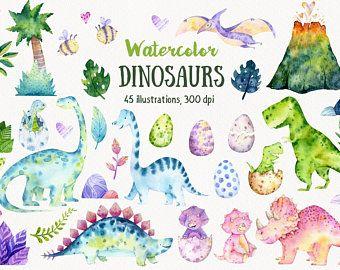 Dinosaurs Watercolor Clipart Set Instant Digital Download Png Etsy Dinosaur Illustration Clip Art Dinosaur