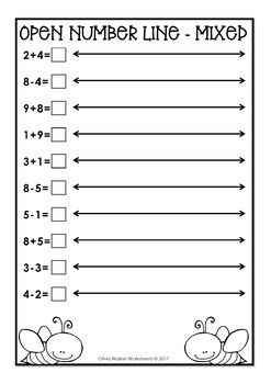 Single Digit Open Number Line Addition And Subtraction One Digit Numberline Number Line Open Number Line Addition And Subtraction