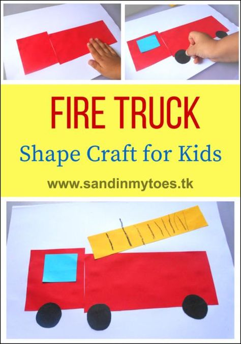 Hands: Fire Truck Shape Craft Simple fire truck craft for toddlers and preschoolers to help them identify shapes.Simple fire truck craft for toddlers and preschoolers to help them identify shapes. Fire Safety Crafts, Fire Safety Week, Preschool Fire Safety, Kids Safety, Toddler Preschool, Toddler Crafts, Preschool Activities, Fire Truck Activities, Preschool Transportation Crafts