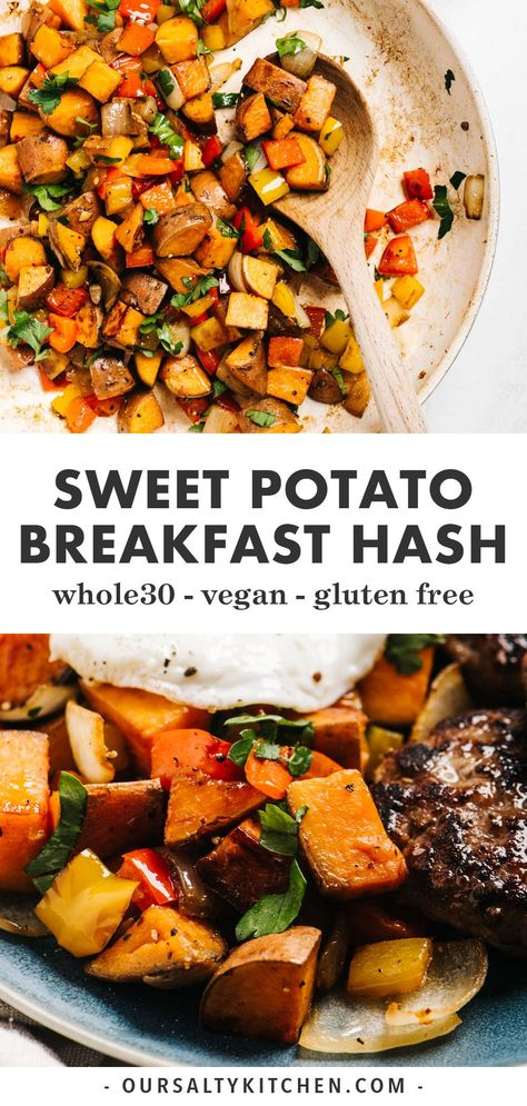 Sweet potato hash is the perfect meal prep breakfast! Naturally paleo, and vegan, its loaded with good carbs and Healthy Crockpot Recipes, Healthy Meal Prep, Healthy Breakfast Recipes, Brunch Recipes, Keto Meal, Recipes Dinner, Dinner Healthy, Brunch Ideas, Eating Healthy
