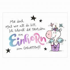 Postkarte Einhorn Zum Geburtstag Geburtstagszitat Geburtstag