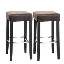new high 100% genuine outlet Brown Faux Leather Bar Stools Set Kitchen Counter High ...