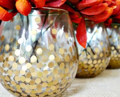 Diy Gold Polka Dot Vases Wine Glasses Pinterest Bricolage