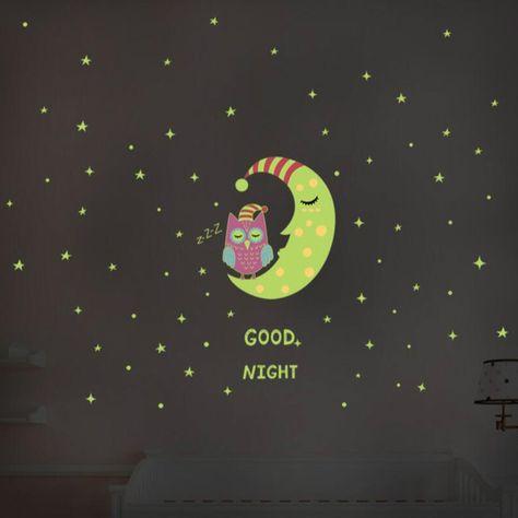 good night glow in the dark owl moon star wall sticker | ocd - owl