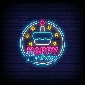 Happy birthday lettering neon text   Premium Vector